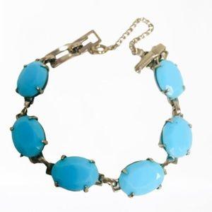 Mod vintage turquoise glass gem cut bracelet